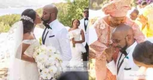 12 Touching Photos From Banky W & Adesua Etomi's White Wedding In South Africa